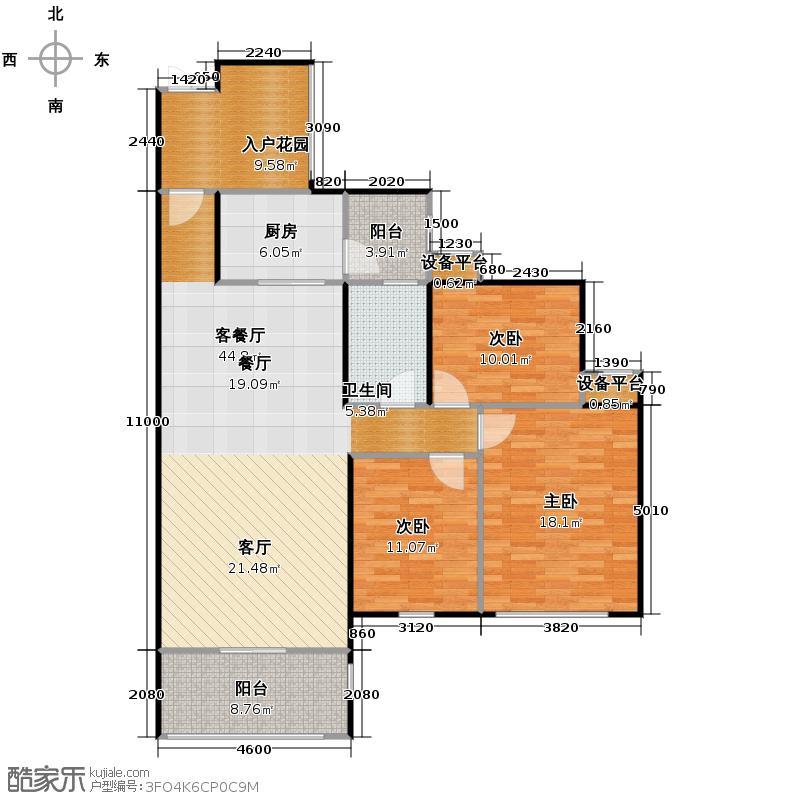 凰樵假日113.00㎡6座4号楼4-10层05/06单位户型3室2厅1卫