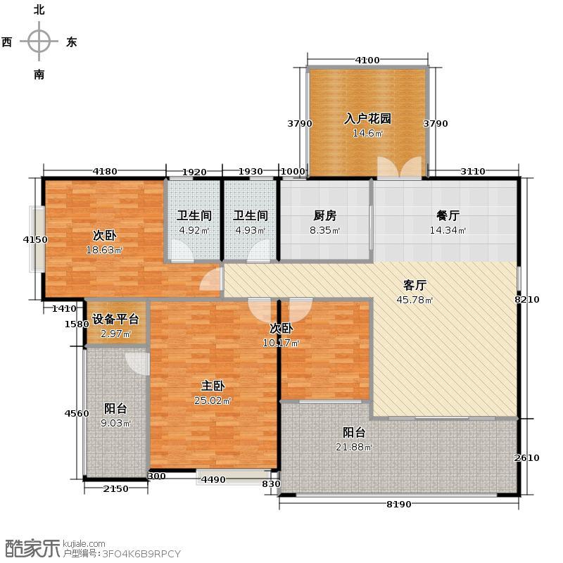 滨江一号156.30㎡3#楼03偶数层户型3室1厅2卫1厨
