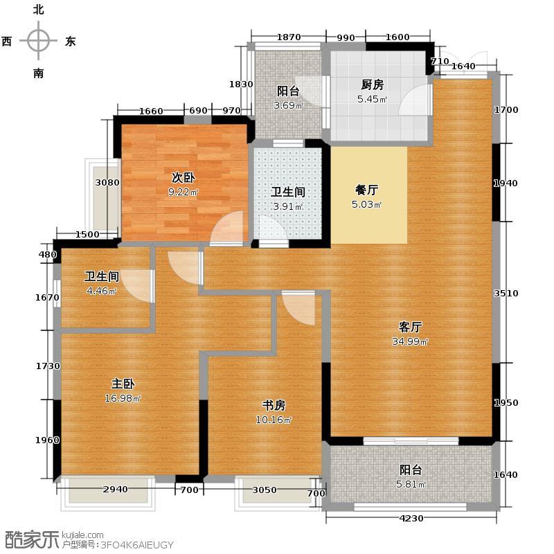 华润中央公园97.00㎡二期6号楼标准层1-2号房户型3室2厅2卫