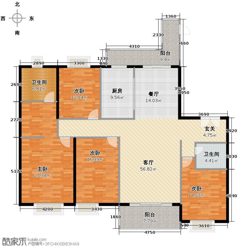 紫薇永和坊205.00㎡在售8/10号楼B主卧观景飘窗全景飘窗户型4室2厅2卫