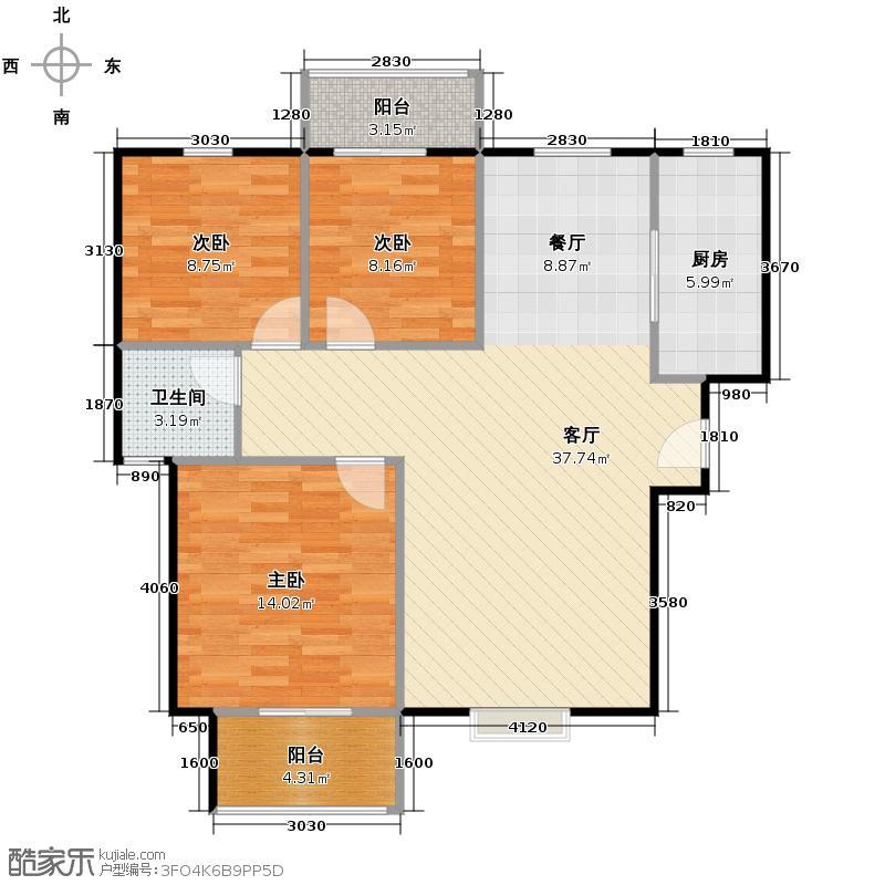 香缤国际城91.72㎡户型10室
