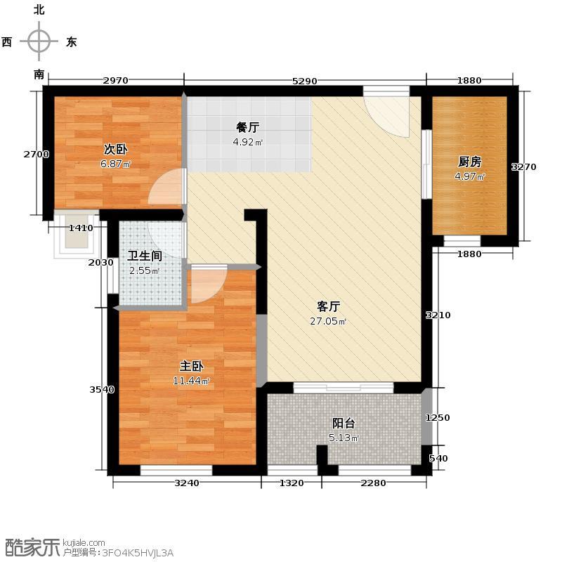 兰乔国际城73.57㎡C户型2室1厅1卫1厨