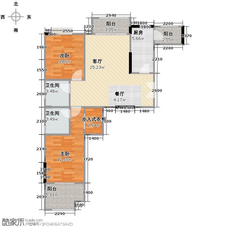 财信沙滨城市86.20㎡A3号A-+三阳台--赠送户型2室2厅2卫