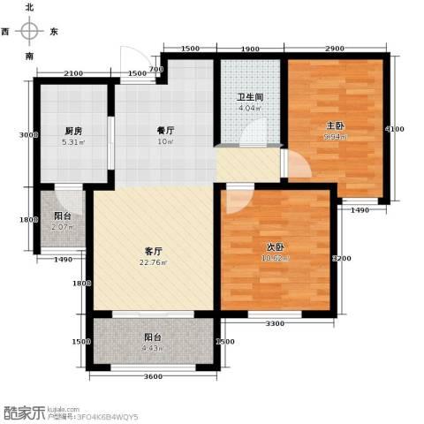 喜蜜湾2室2厅1卫0厨87.00㎡户型图