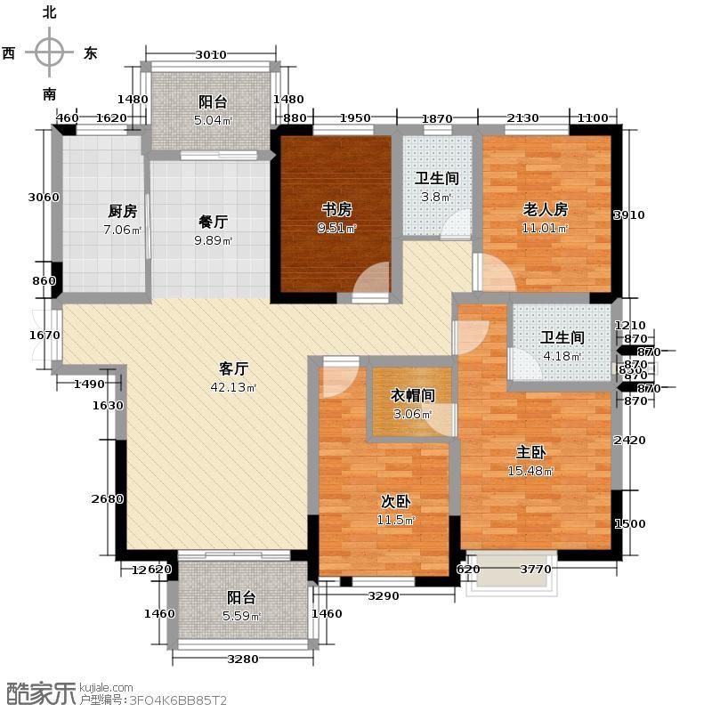 长房时代城158.97㎡D4户型4室2厅2卫