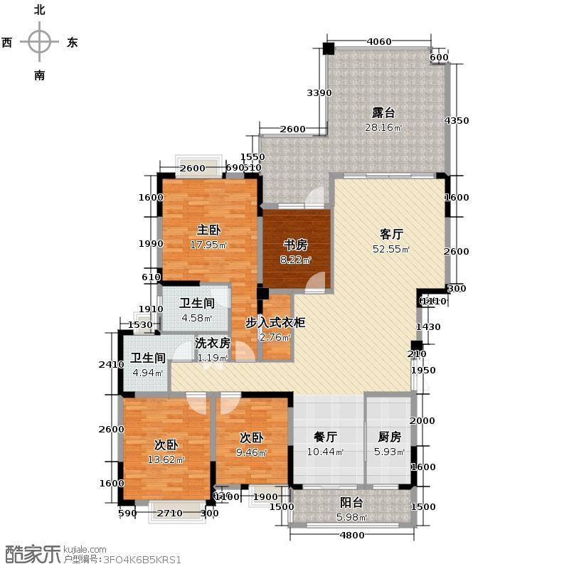 中铁西城152.00㎡平层2F户型4室2厅2卫