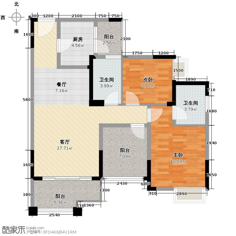 北辰美庐87.01㎡B-4实得10727户型2室1厅2卫1厨