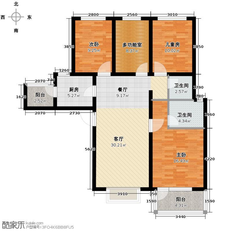 金隅・观澜时代125.00㎡A1'户型3室2厅2卫
