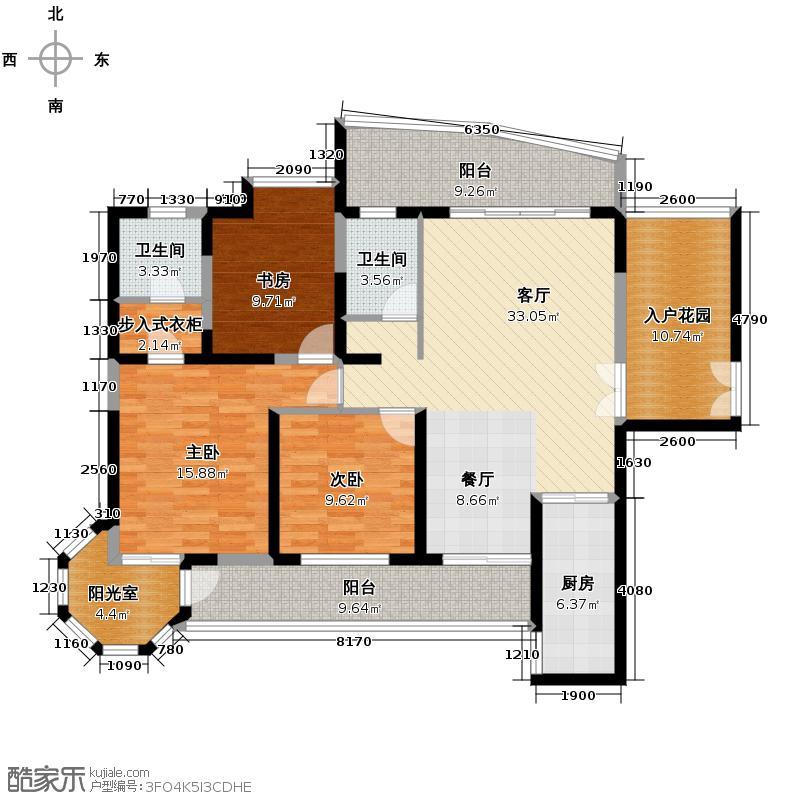 盛世一品137.27㎡在售4号楼B145米大开间客厅独立衣帽间、书房附带阔景飘窗户型3室1厅2卫1厨