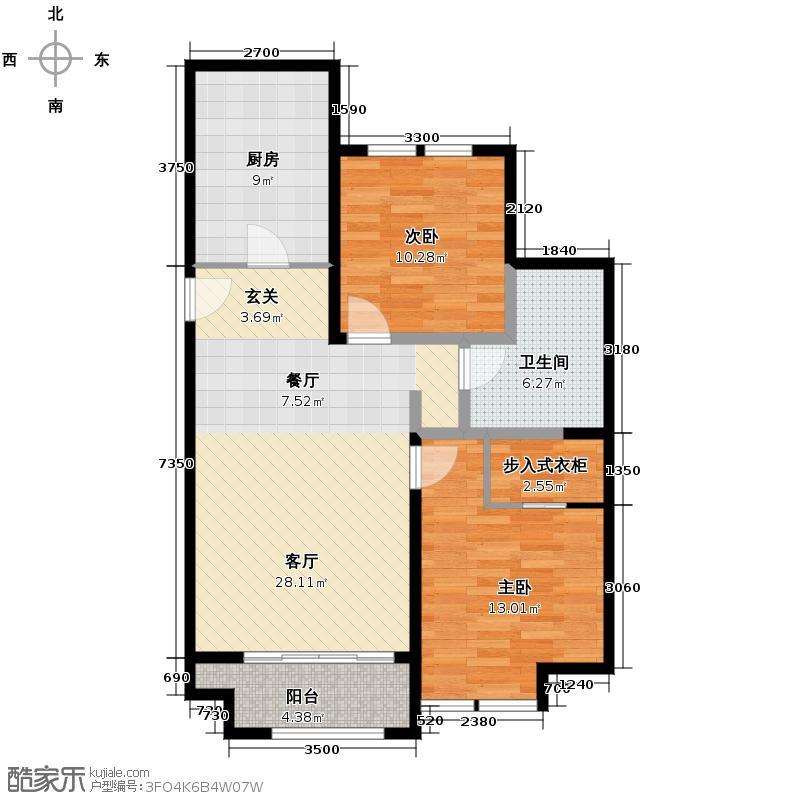 香邑暖山95.38㎡B6户型2室1厅1卫1厨