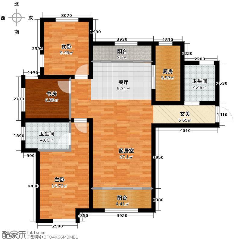 中建城126.00㎡户型3室2厅2卫