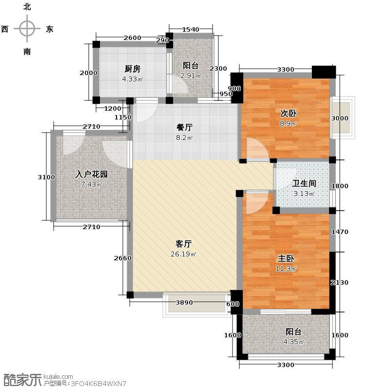北辰美庐83.50㎡E-3实得面积10196户型2室1厅1卫1厨