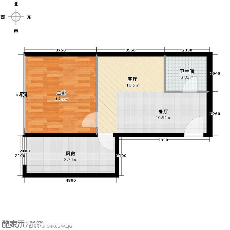 富贾花园73.00㎡A户型1室2厅1卫