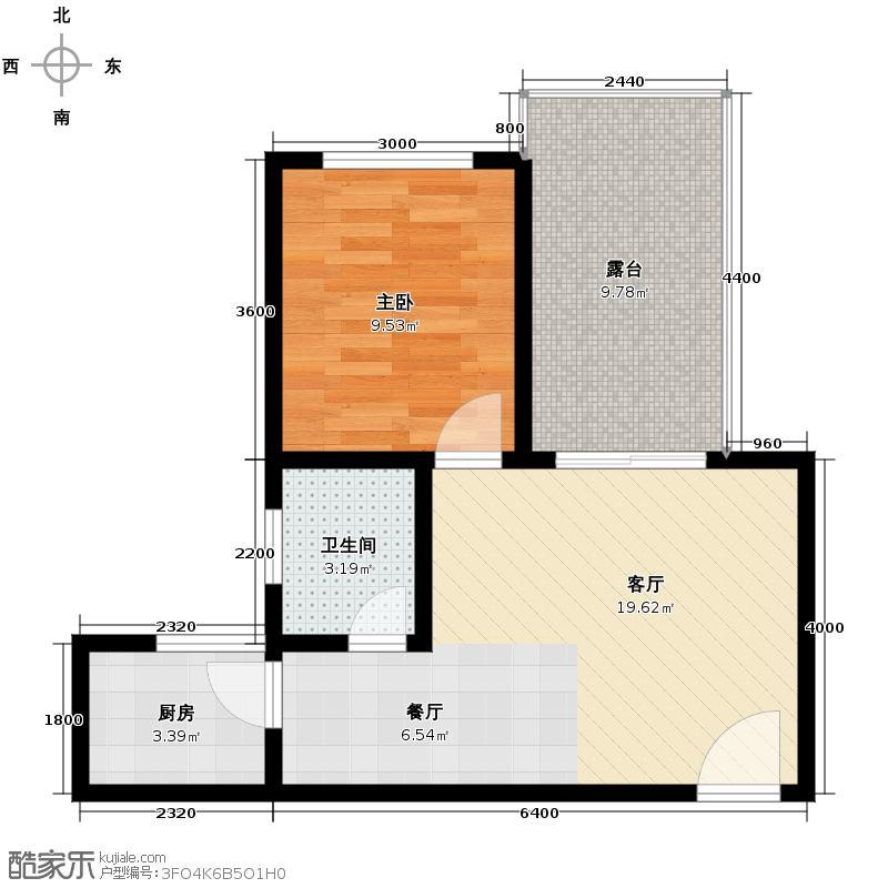 德宜信锦绣天台51.34㎡B栋标准层B户型1室2厅1卫