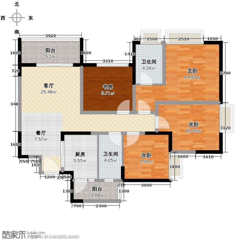 东原香郡114.64㎡D2可变户型4室1厅2卫1厨