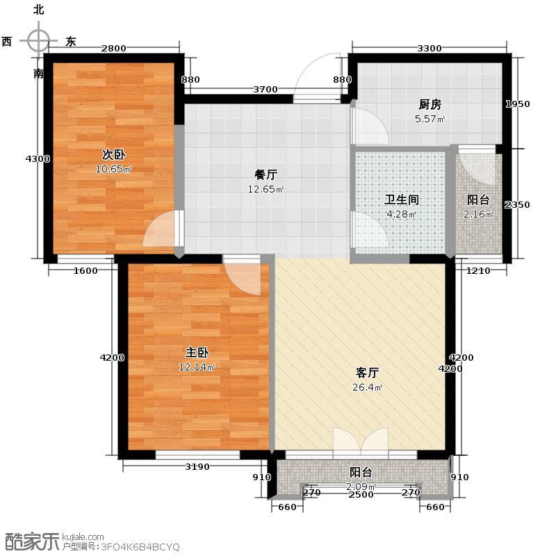 泽天下89.00㎡二期13、17号楼标准层D户型2室2厅1卫