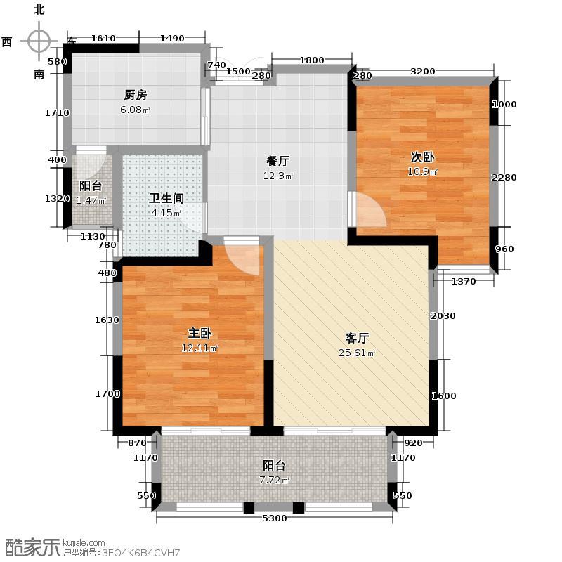 紫金伴山87.89㎡D2户型2室2厅1卫