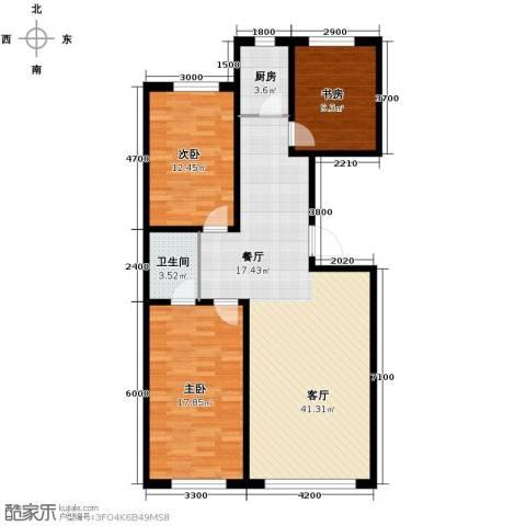 御景名家3室2厅1卫0厨117.00㎡户型图