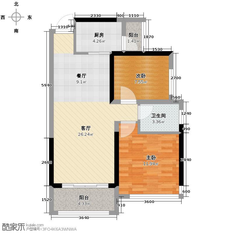 瀚林御景68.27㎡6栋1单元01-户型10室
