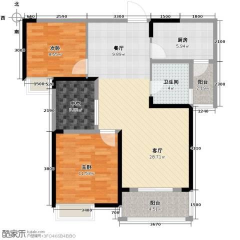 联发九都府2室2厅1卫0厨88.00㎡户型图
