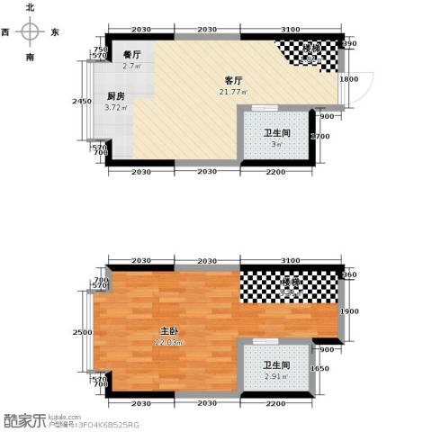 唐延公馆1室1厅2卫0厨70.00㎡户型图
