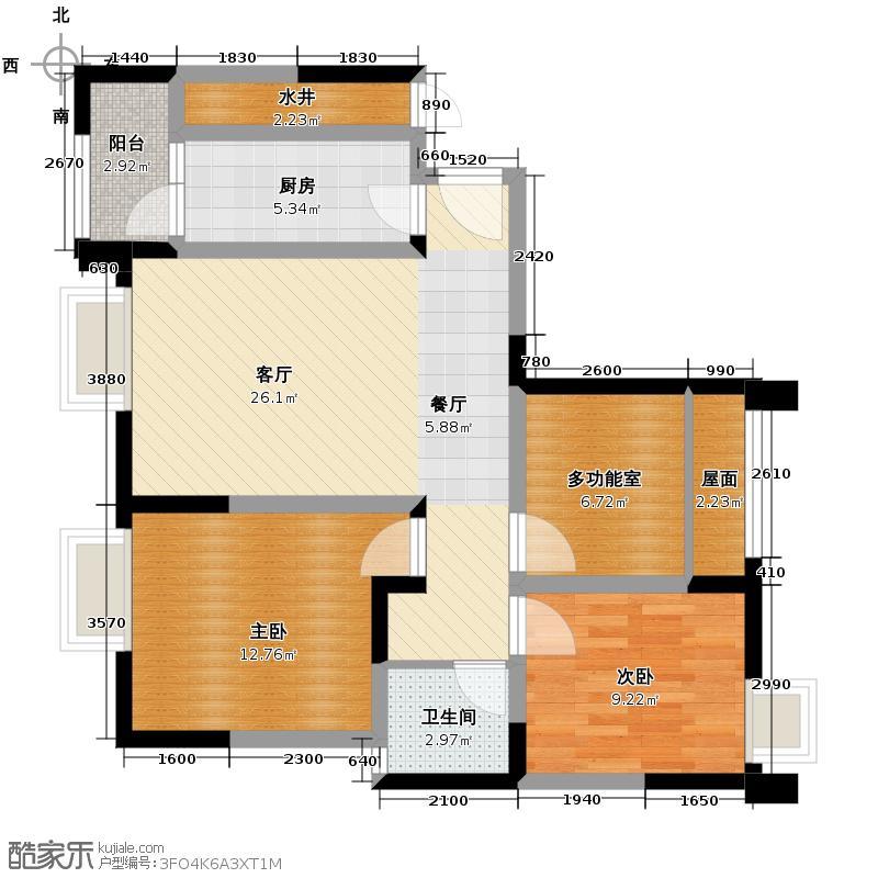 瑞升望江橡树林82.92㎡二期H5户型2室2厅1卫