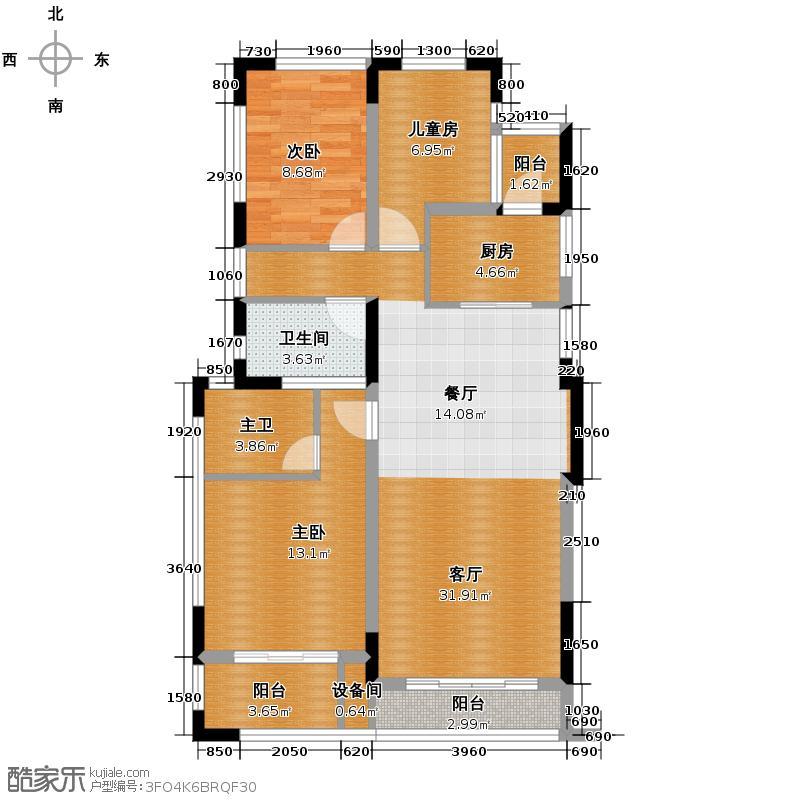 紫金东郡120.99㎡2、14、17号楼二层D2户型3室2厅2卫