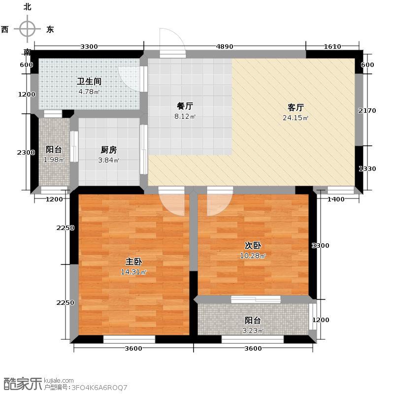 航天双城88.84㎡A1户型2室2厅1卫