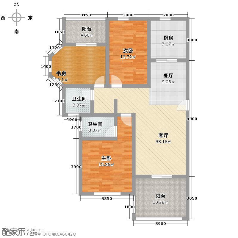 藏龙星天地121.19㎡一期C1户户型3室1厅2卫1厨