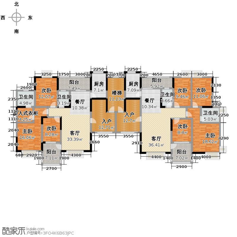 恒大华府292.76㎡五期12-2号栋平面图户型10室