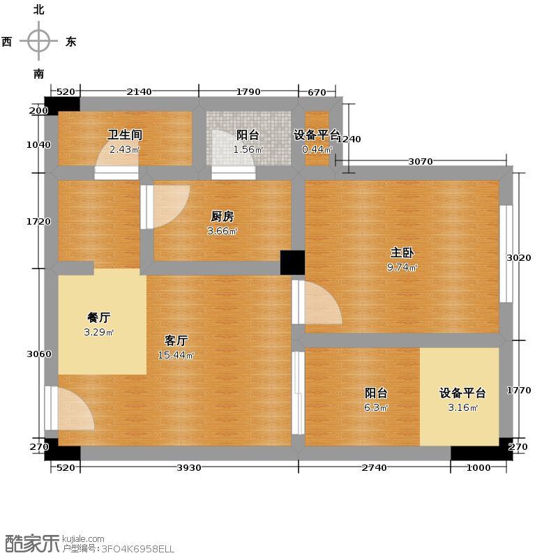 绿地公馆52.00㎡E-1双阳台户型1室1厅1卫