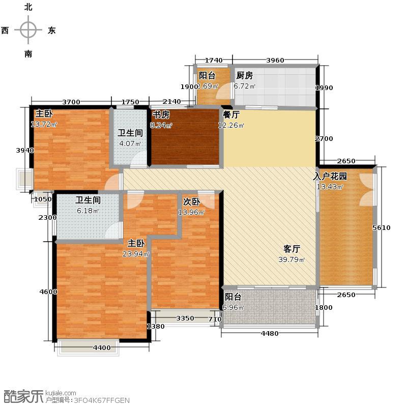 富力君湖华庭180.00㎡T3栋2-25层02单元户型4室1厅2卫1厨