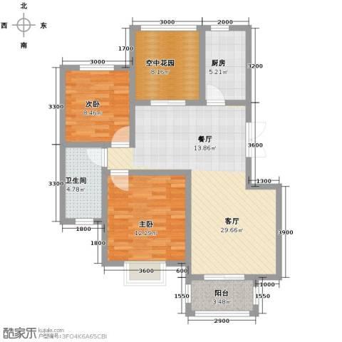 金桥普林斯顿2室2厅1卫0厨90.00㎡户型图