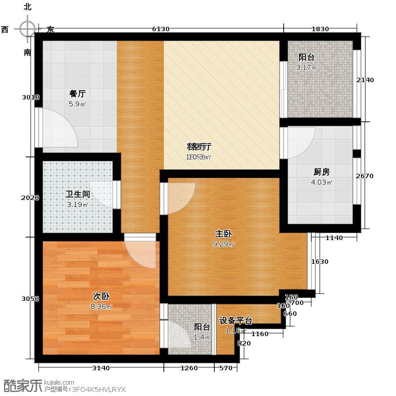 通瑞月光湖64.47㎡B3户型2室2厅1卫