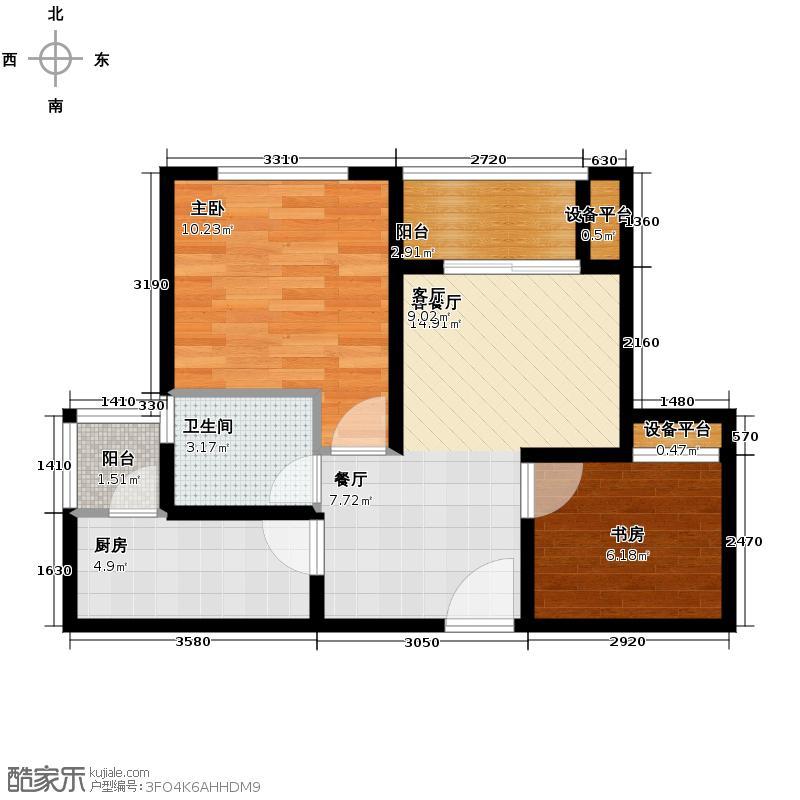 银锣湾67.02㎡A1户型2室1厅1卫1厨