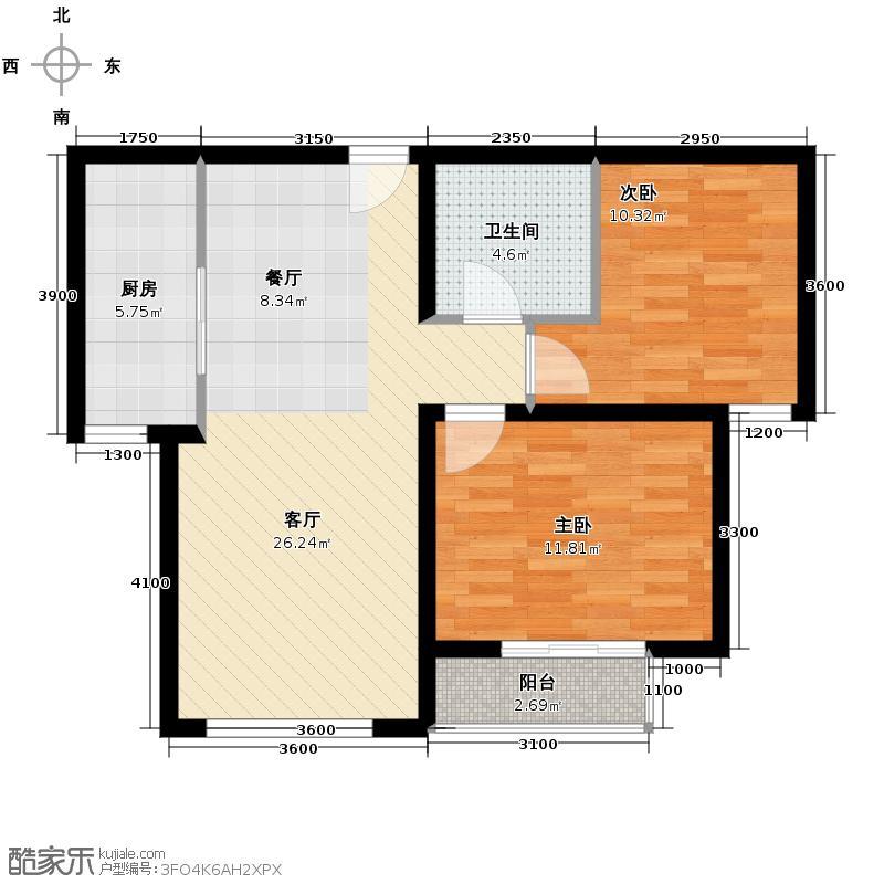 常楹公元85.00㎡F-2户型2室2厅1卫