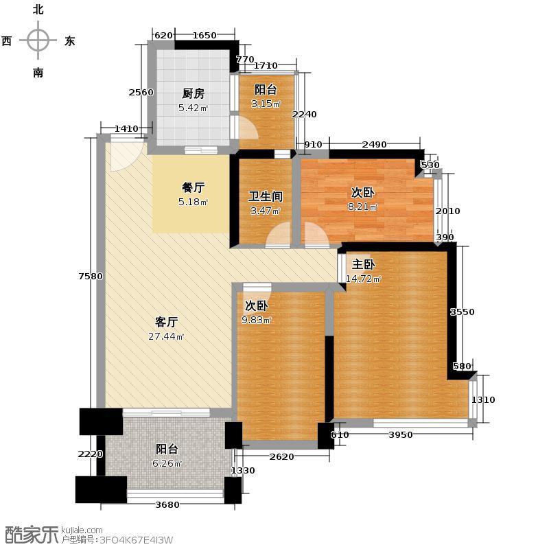 雅居乐锦官城94.99㎡B户型3室1厅1卫1厨