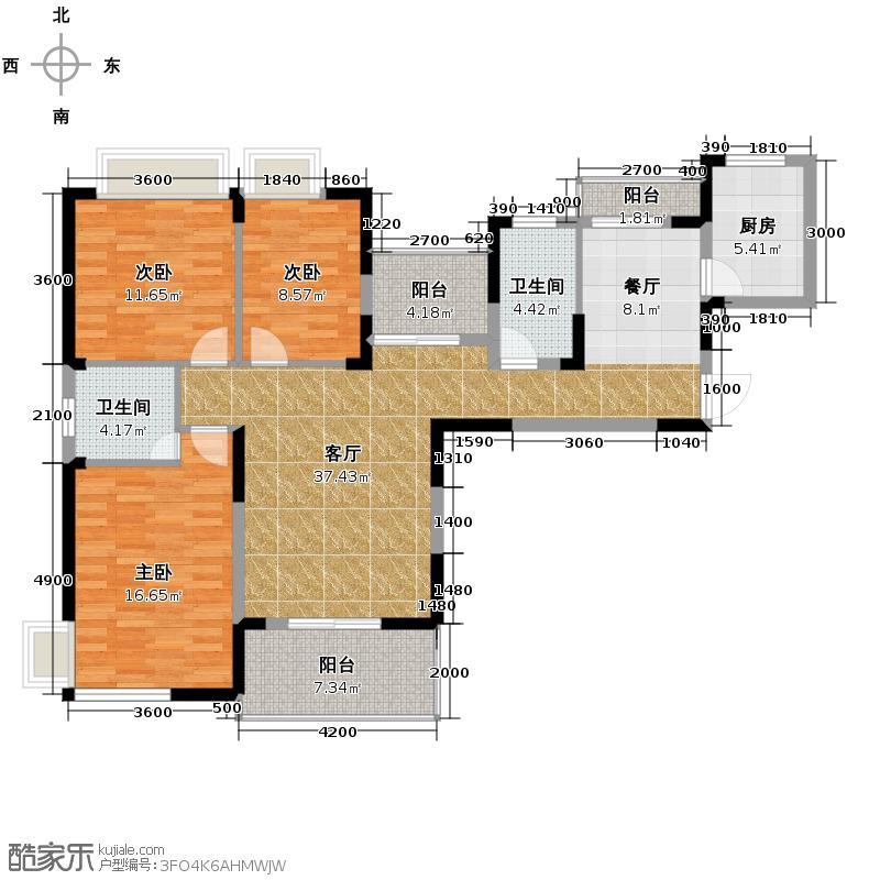 海山金谷134.49㎡B1户型3室1厅2卫1厨