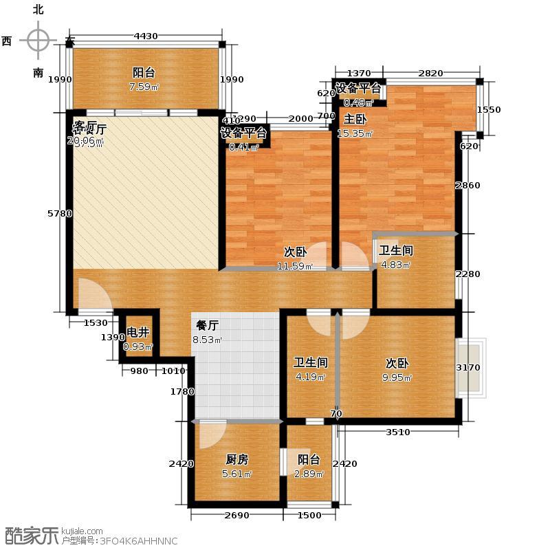 信地伴云居121.80㎡户型3室1厅2卫1厨