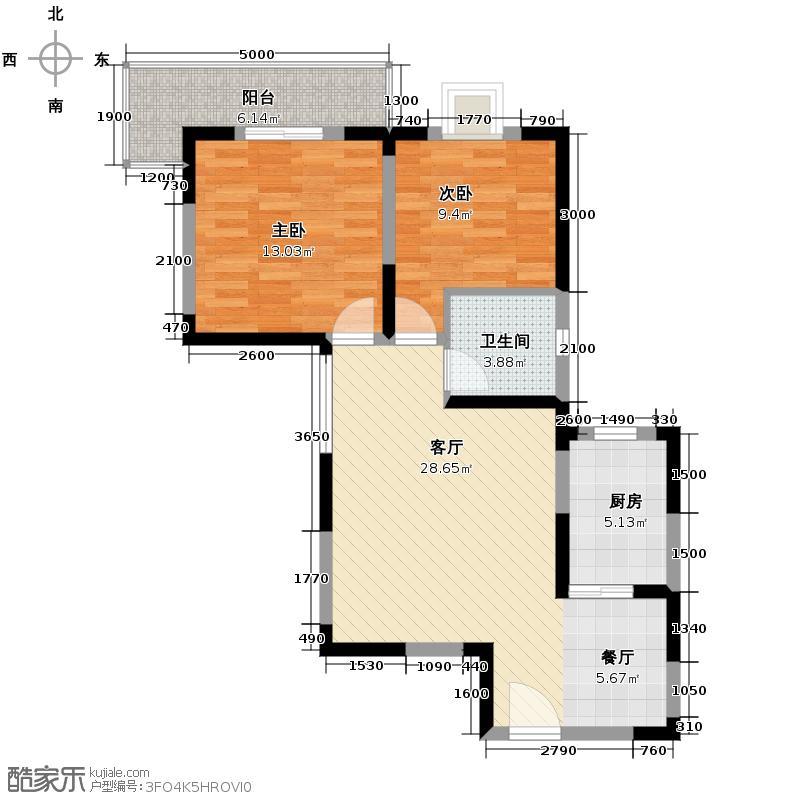 天朗西子湖91.04㎡A型结构户型2室1厅1卫1厨