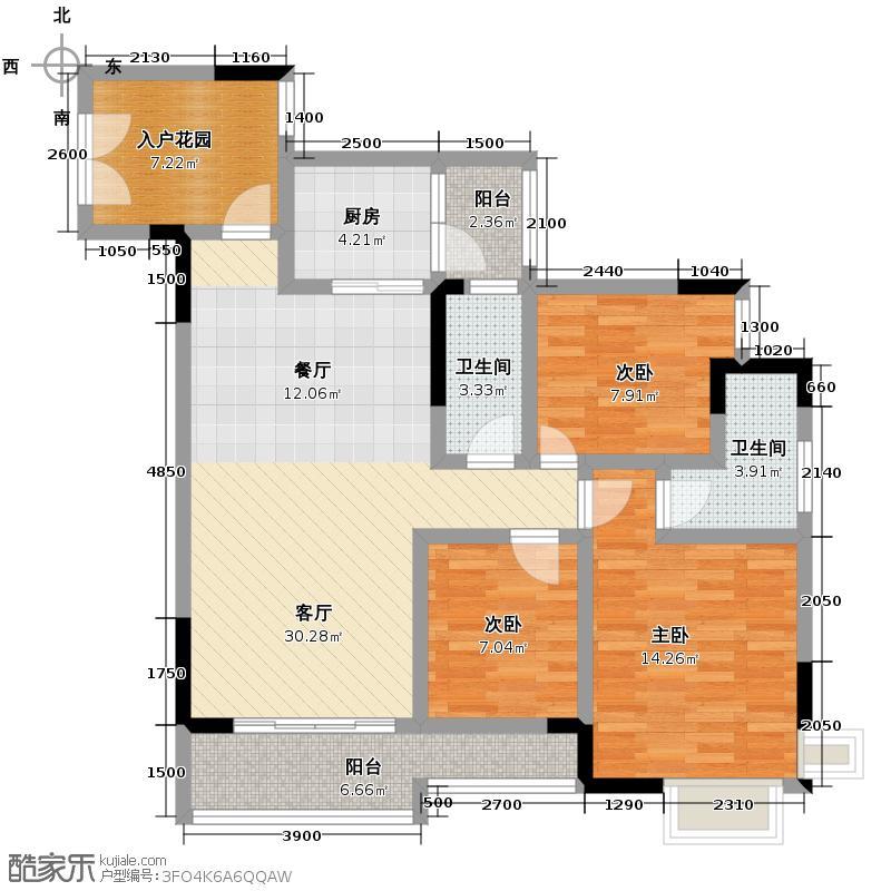 富力城91.00㎡E1栋5号户型3室2厅2卫