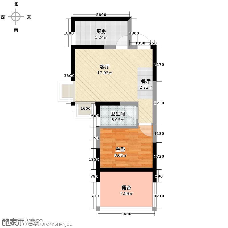 海棠别馆58.20㎡+超大露台送户型1室1厅1卫1厨