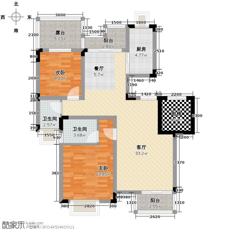 和泓四季80.00㎡一期洋房13栋A型4F标准层户型2室2厅2卫