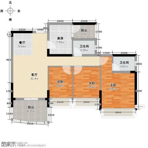 广州雅居乐花园3室1厅2卫1厨121.00㎡户型图