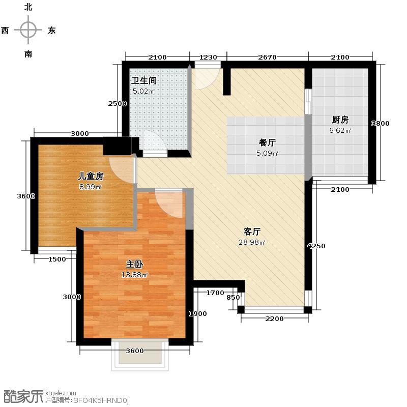 巴登巴登88.00㎡12356号楼户型2室2厅1卫
