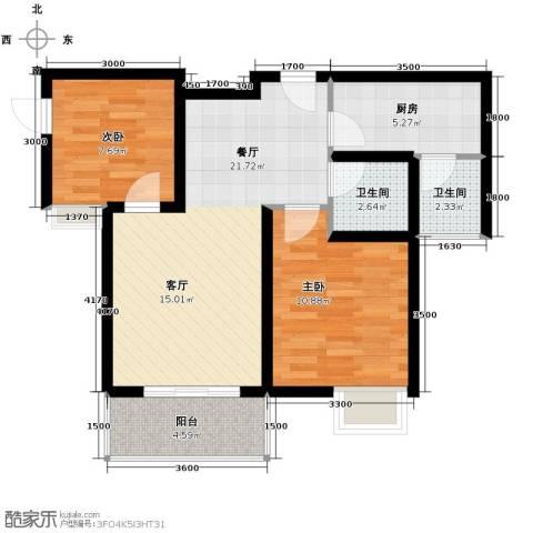大鼎世纪滨江2室2厅1卫0厨59.00㎡户型图