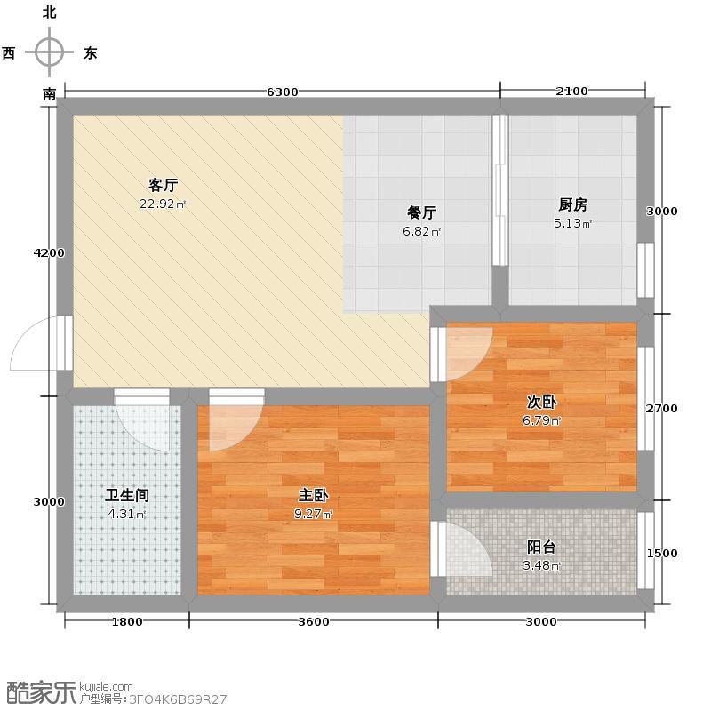 东方花园75.72㎡J户型2室1厅1卫1厨