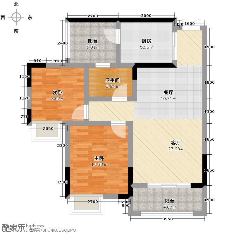 华润中央公园69.00㎡13号楼5号户型2室2厅1卫