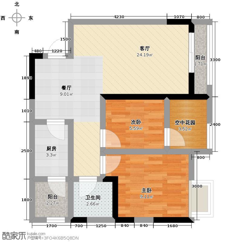 万博汇74.80㎡7E三阳台户型2室1厅1卫1厨