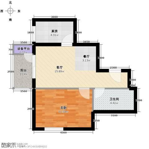 青年城1室1厅1卫1厨58.00㎡户型图
